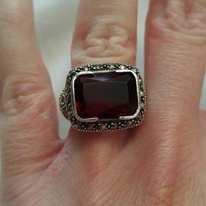 Sterling Ring w/ Dark Red Stone